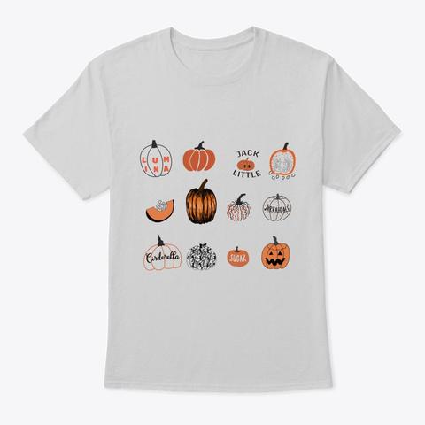 Halloween Pumpkin White T Shirt Light Steel T-Shirt Front