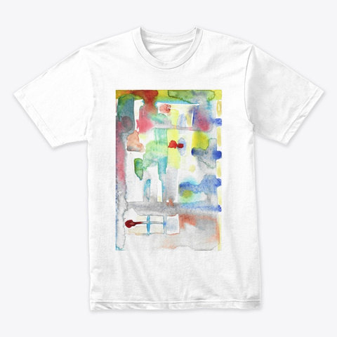 Mixed Color Watercolor Art White T-Shirt Front