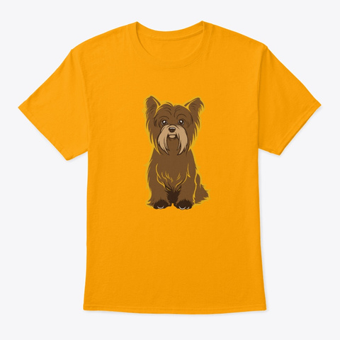 Yorkie Love Dog Art Gold T-Shirt Front