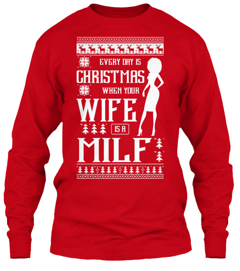 2add592c547 from Ugly Christmas Sweater BELIEVE. Ugly Christmas Sweater T Shirt Red  Long Sleeve T-Shirt Front