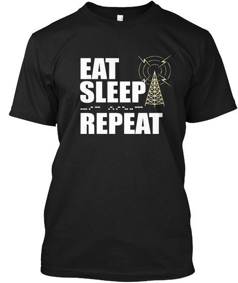 Eat Sleep Repeat Black T-Shirt Front
