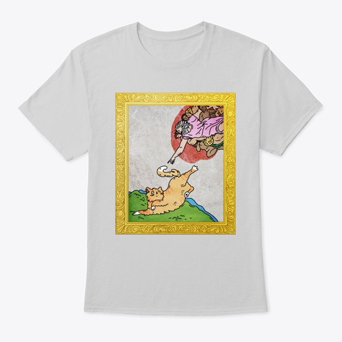 The Creation Of Adam Cat Light Steel T-Shirt Front
