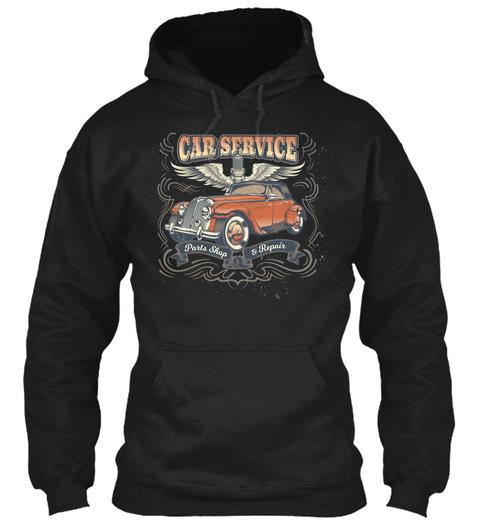 Car Service Grunge Repair Shop Wings Black T-Shirt Front