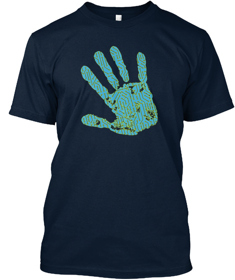 T Shirt Technology Handprint Computers New Navy T-Shirt Front