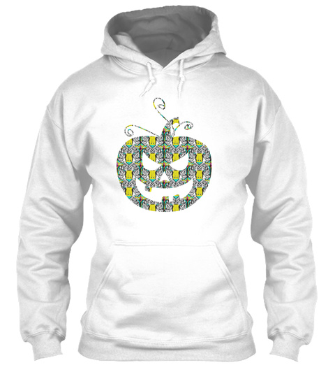 Halloween Pumpkin With Tiger Pattern White T-Shirt Front