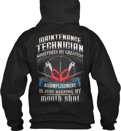 Maintenance Technician New Year Special Black T-Shirt Back
