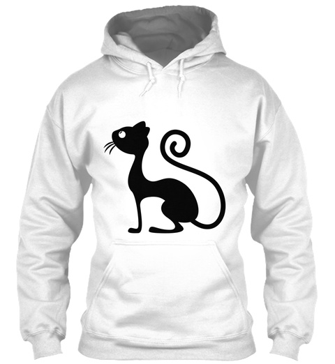 Hoodie Cat Funny Front And Back Design White Camiseta Front