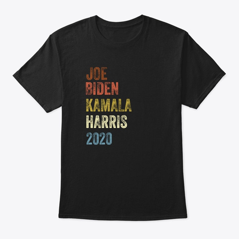 Biden Harris 2020 Vintage Retro Black T-Shirt Front