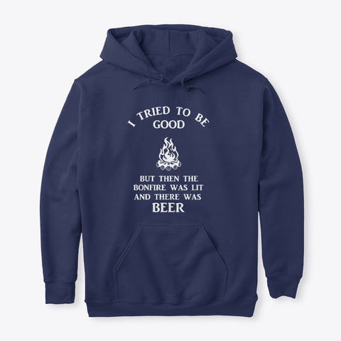 Bonfire And Beer Navy T-Shirt Front