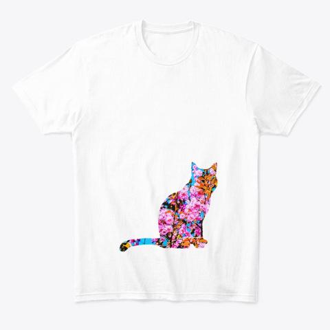Floral Cat White T-Shirt Front