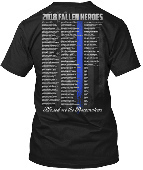 2018 Fallen Heroes Blessed Are The Peacemakers Black T-Shirt Back