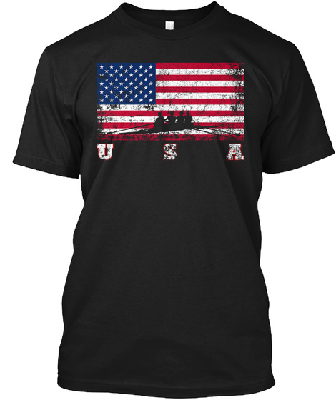 American Flag Rowing Gifts Black T-Shirt Front