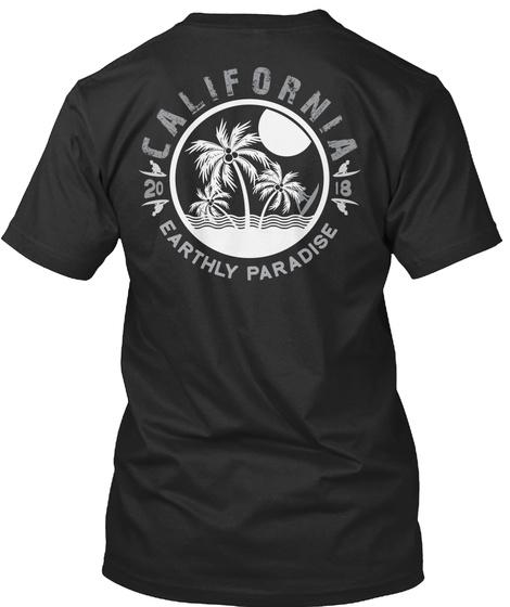 Surfing Paradise California T Shirt 2018 Black T-Shirt Back