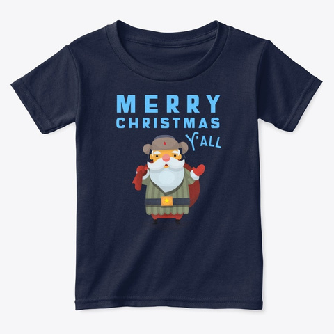 Merry Christmas Y'all Navy  T-Shirt Front