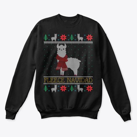 Llama Alpaca Ugly Christmas Xmas Gifts Black T-Shirt Front