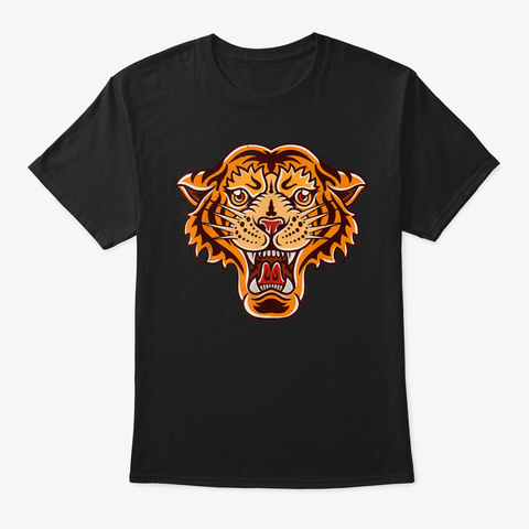 Old School Tiger Face Vintage Retro Grap Black T-Shirt Front