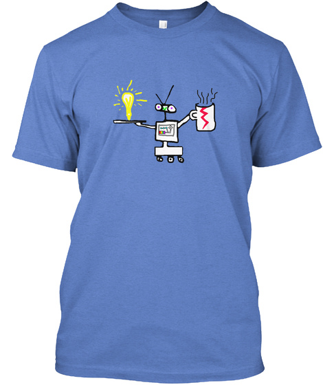 Limited Edition: Robot T Shirt Heathered Royal  T-Shirt Front