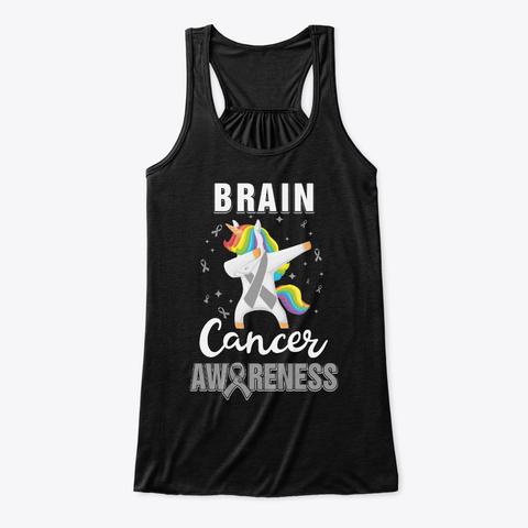 Inspirational Brain Cancer Awareness Black T-Shirt Front
