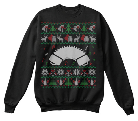 Wine Bandoneon Ugly Christmas Sweater Black T-Shirt Front
