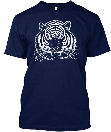 Men's Tiger White Face T Shirts Navy T-Shirt Front