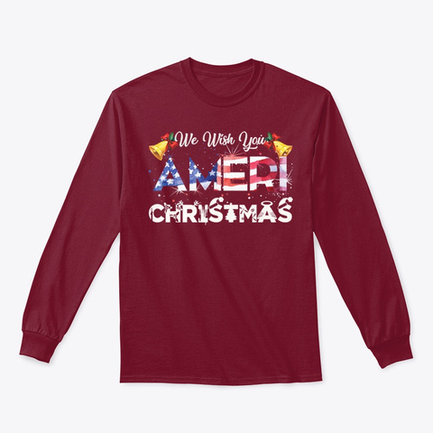 We Wish You Ameri Christmas Ugly Sweater Cardinal Red T-Shirt Front