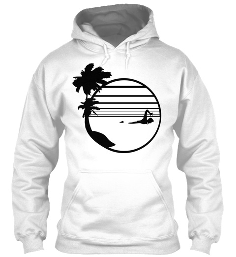 Holiday Vacation Palm Sun Beach Swimming White T-Shirt Front