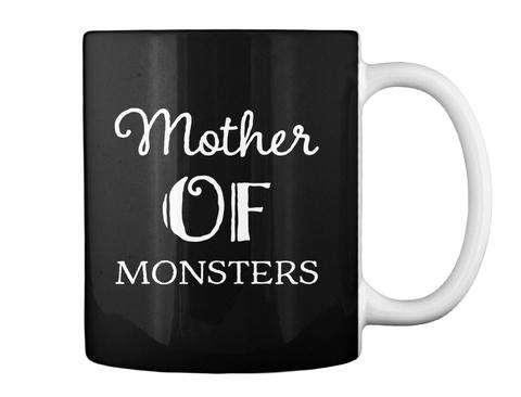 Mother Of Monsters Halloween Mug Black T-Shirt Back
