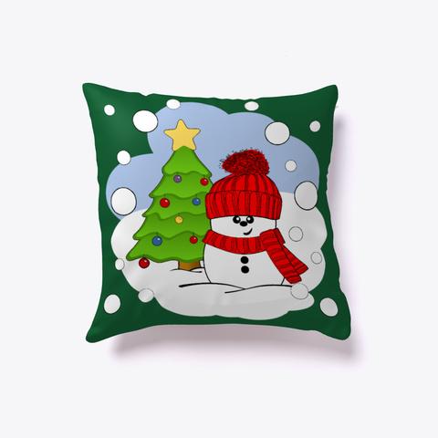 Cute Snowman Decorating Christmas Tree Dark Green T-Shirt Front