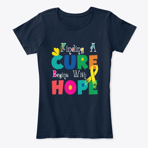Childhood Cancer Awareness Finding Cure New Navy T-Shirt Front