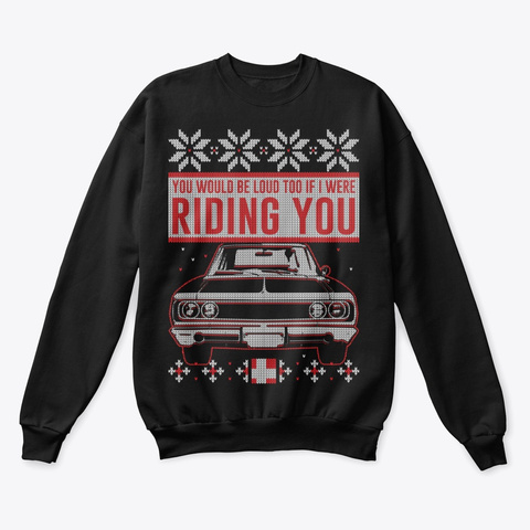 Classic Car Lover Ugly Christmas Sweater Black T-Shirt Front