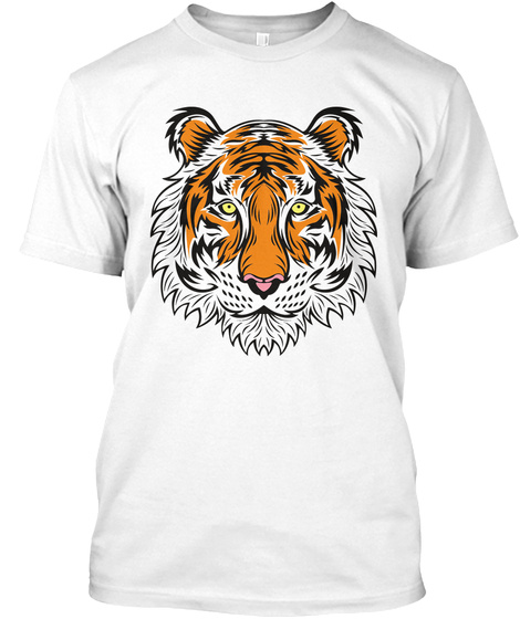 Funny Men's Tiger Face Adult T Shirts White T-Shirt Front