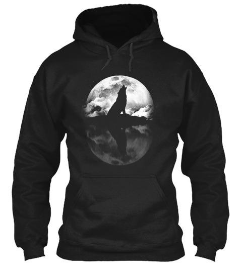 Wolf And The Moon Black T-Shirt Front