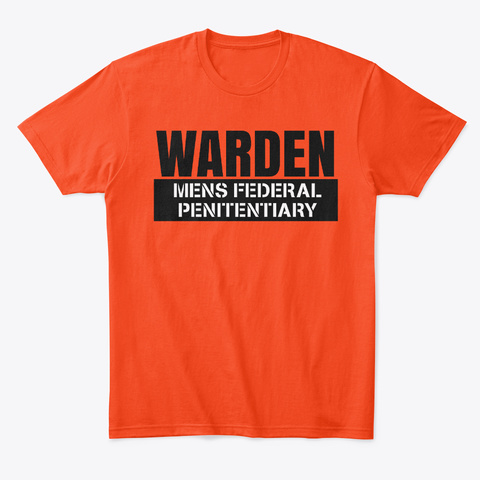 Warden Mens Halloween Costume Deep Orange  T-Shirt Front
