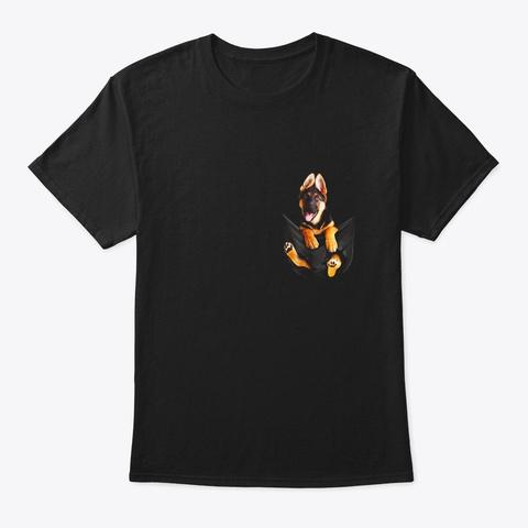 Dog In Punctured Pocket German Shepherd Black T-Shirt Front