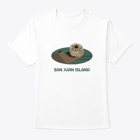 San Juan Island Wa Otter Pnw Tribal White T-Shirt Front