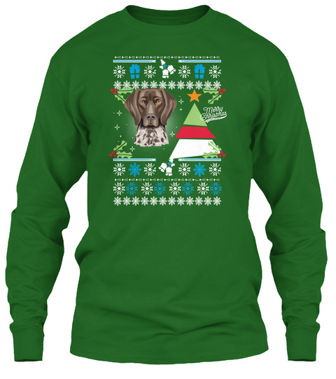 Shorthaired Pointer   Merry Christmas Irish Green T-Shirt Front