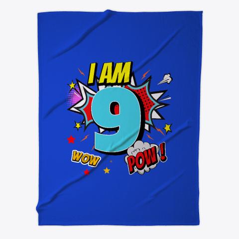 9 Years Old 9th Birthday Boy Comic Kid  Royal Blue T-Shirt Front