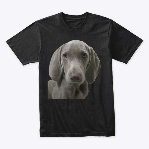 Cute Weimaraner Puppy Face Black T-Shirt Front
