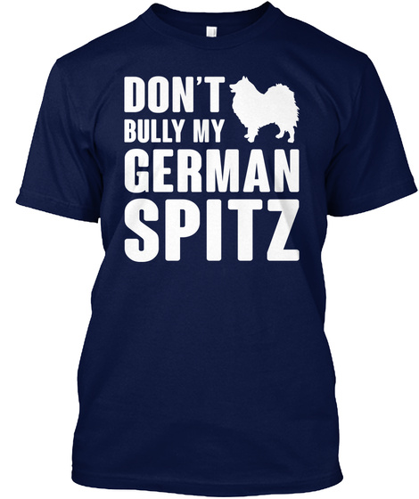 German Spitz Navy T-Shirt Front