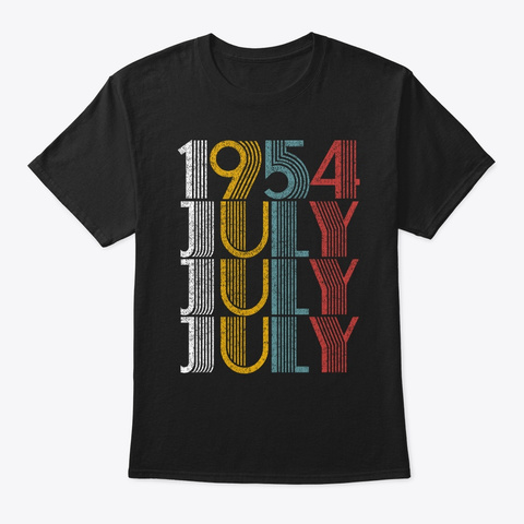 July 1954 Birthday Vintage Style Black T-Shirt Front