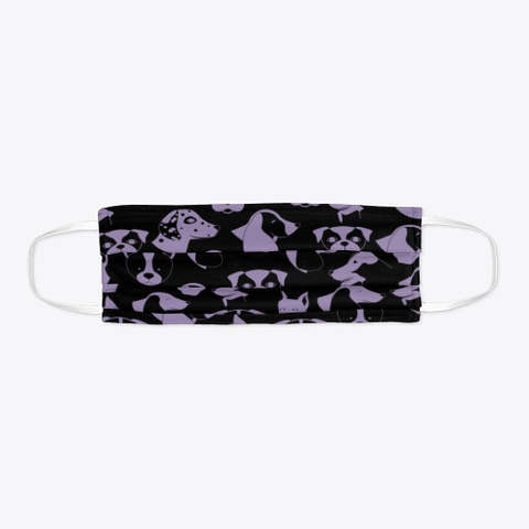 Purple Pups Face Covering Black T-Shirt Flat
