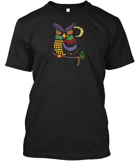Artsy Owl And Moon Abstract Art Black T-Shirt Front