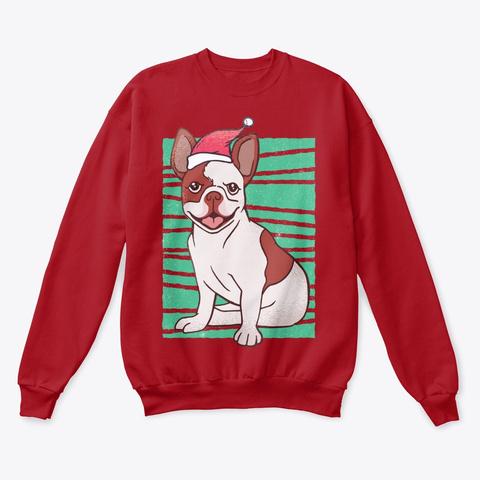 Christmas Santa French Bulldog Deep Red  T-Shirt Front