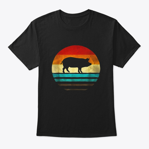 Retro Vintage Pig Silhouette Shirt Farm Black T-Shirt Front