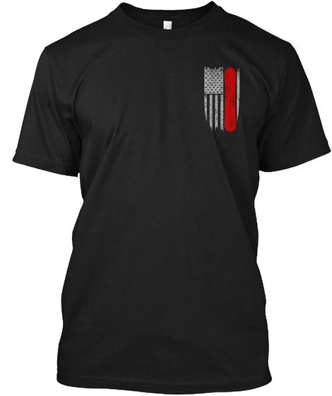 Snowboarding   Usa Flag Black T-Shirt Front