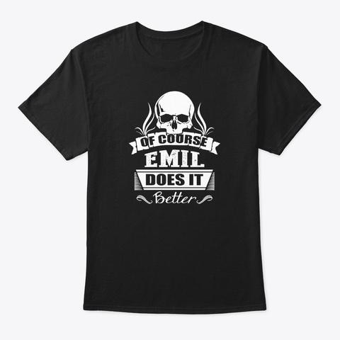 Emil Does It Better Black T-Shirt Front