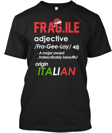 Funny Christmas Fragile  Fra Gee Lay Black T-Shirt Front