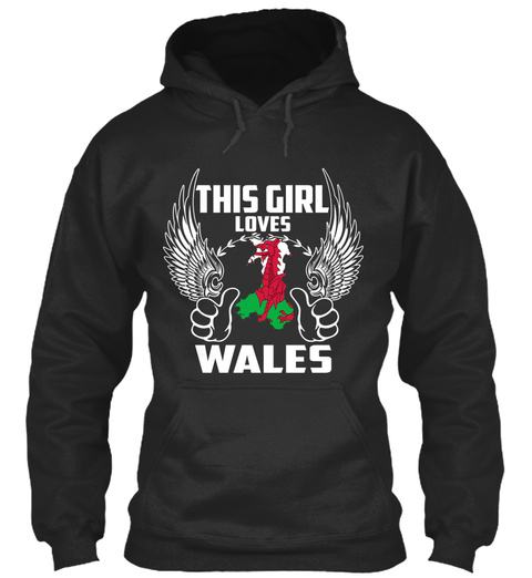 This Girl Loves Wales Jet Black T-Shirt Front