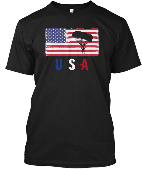 Usa Black T-Shirt Front