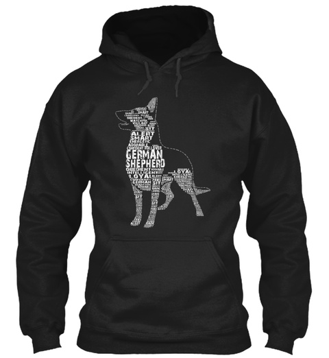 German Shepherd Alert Smart Loyal Sit Obedient Intelligent Rollover Confident Black T-Shirt Front